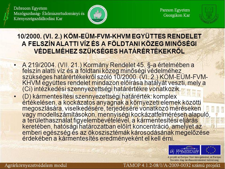 A 219/2004. (VII. 21.) Kormány Rendelet 45. §-a értelmében a felszín alatti víz és a földtani közeg minőségi védelméhez szükséges határértékekről szól
