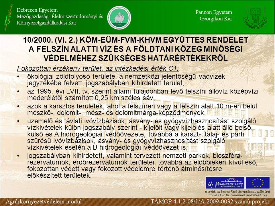 Fokozottan érzékeny terület, az intézkedési érték C1: ökológiai zöldfolyosó területe, a nemzetközi jelentőségű vadvizek jegyzékébe felvett, jogszabály