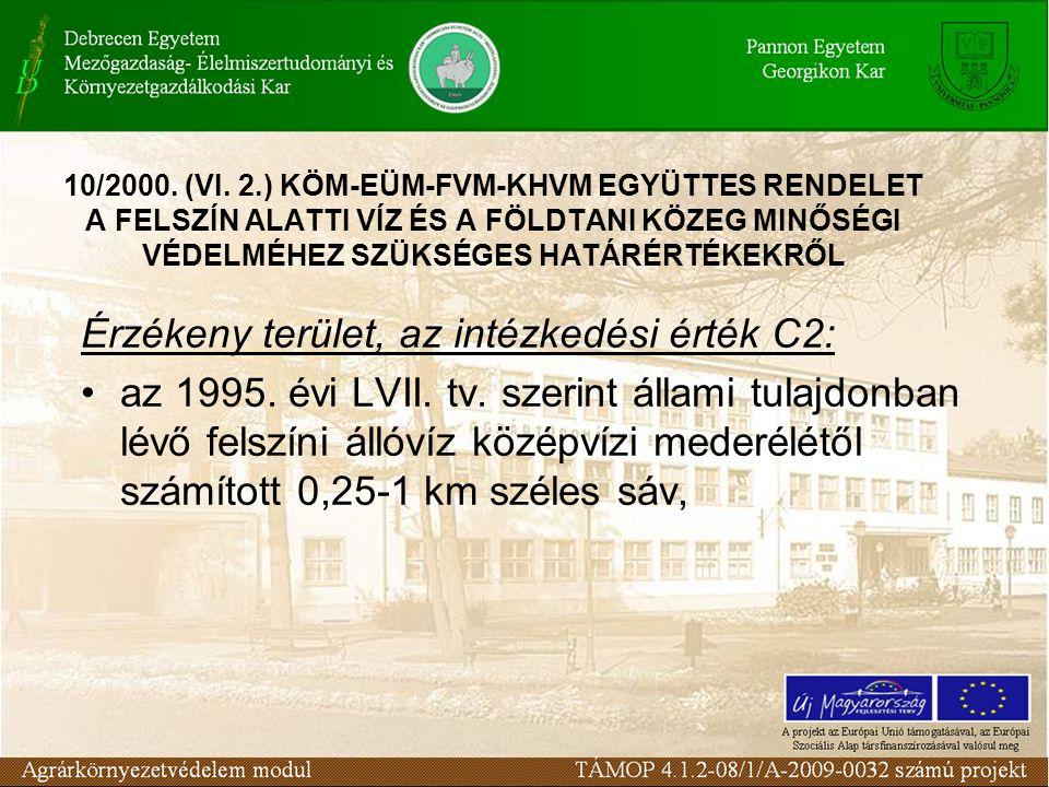 Érzékeny terület, az intézkedési érték C2: az 1995. évi LVII. tv. szerint állami tulajdonban lévő felszíni állóvíz középvízi mederélétől számított 0,2
