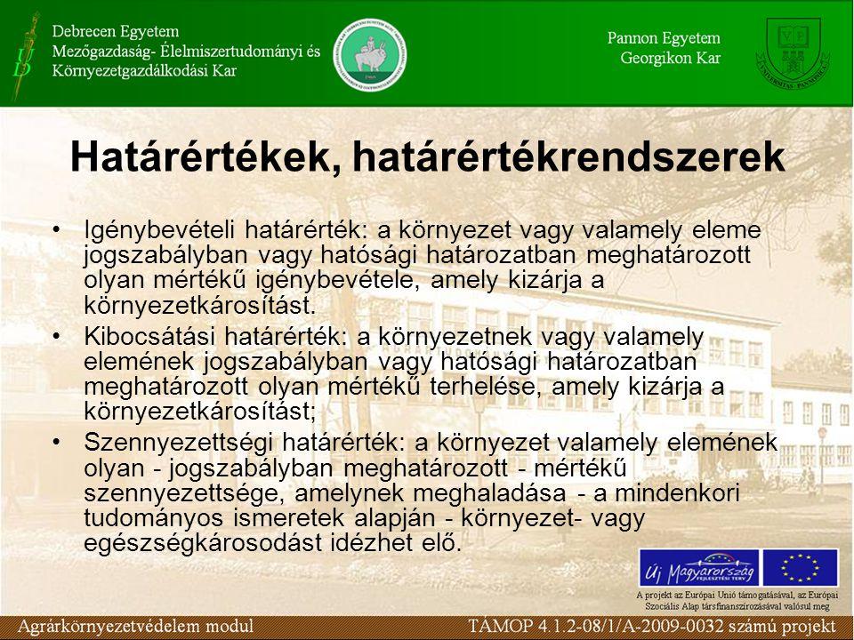Igénybevételi határérték: a környezet vagy valamely eleme jogszabályban vagy hatósági határozatban meghatározott olyan mértékű igénybevétele, amely ki