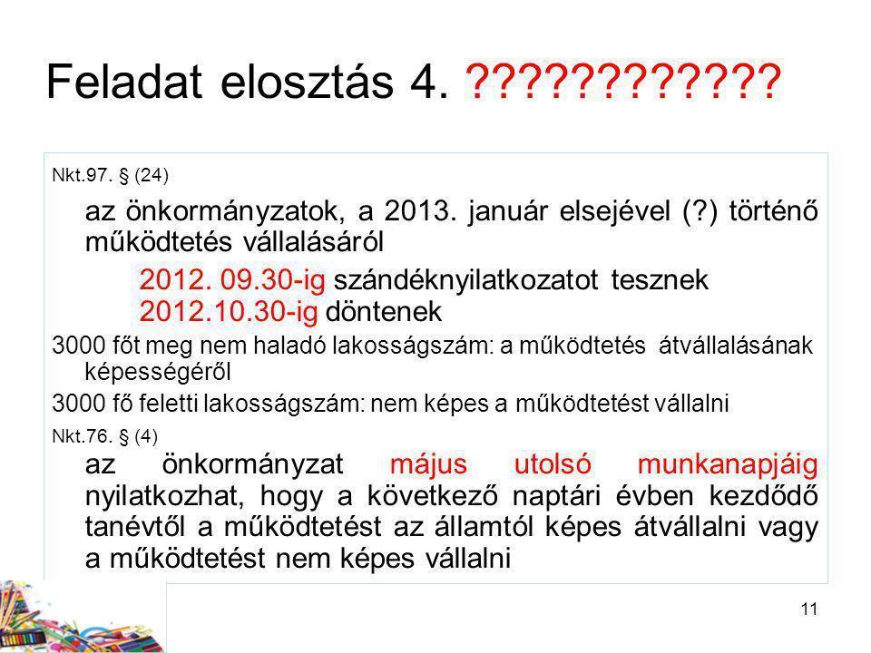 11 Feladat elosztás 4. ???????????? Nkt.97. § (24) az önkormányzatok, a 2013. január elsejével (?) történő működtetés vállalásáról 2012. 09.30-ig szán