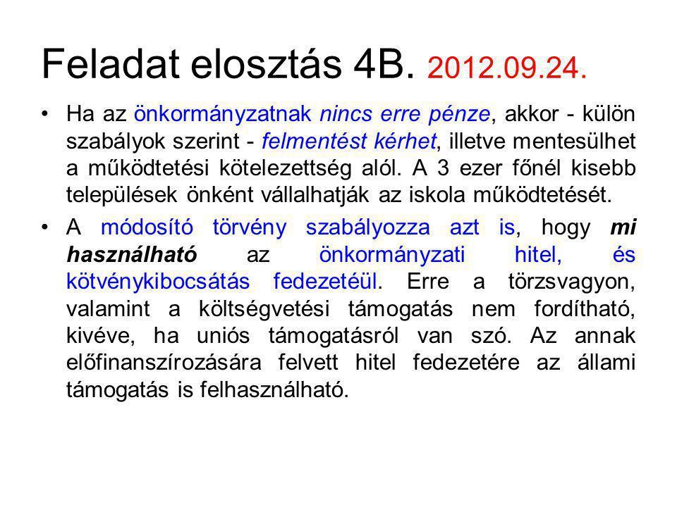 Feladat elosztás 4B. 2012.09.24. Ha az önkormányzatnak nincs erre pénze, akkor - külön szabályok szerint - felmentést kérhet, illetve mentesülhet a mű