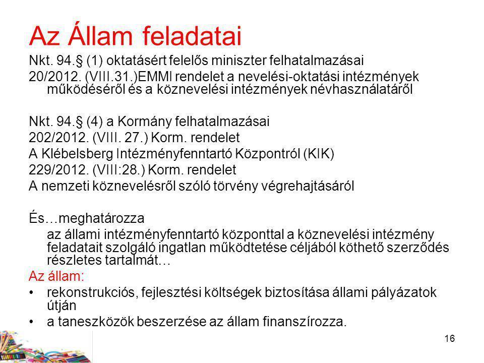 16 Az Állam feladatai Nkt. 94.§ (1) oktatásért felelős miniszter felhatalmazásai 20/2012. (VIII.31.)EMMI rendelet a nevelési-oktatási intézmények műkö