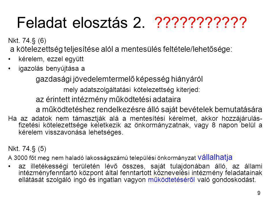 9 Feladat elosztás 2. ??????????? Nkt. 74.§ (6) a kötelezettség teljesítése alól a mentesülés feltétele/lehetősége: kérelem, ezzel együtt igazolás ben