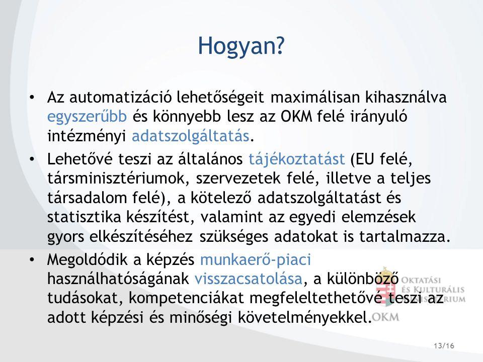 13/16 Hogyan? Az automatizáció lehetőségeit maximálisan kihasználva egyszerűbb és könnyebb lesz az OKM felé irányuló intézményi adatszolgáltatás. Lehe