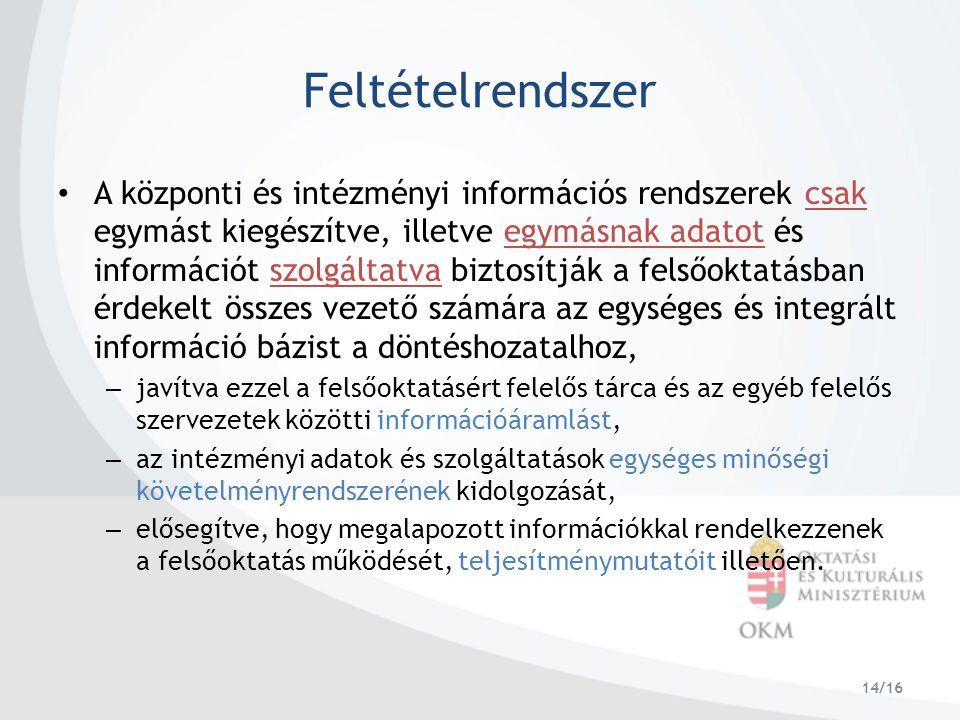 14/16 Feltételrendszer A központi és intézményi információs rendszerek csak egymást kiegészítve, illetve egymásnak adatot és információt szolgáltatva