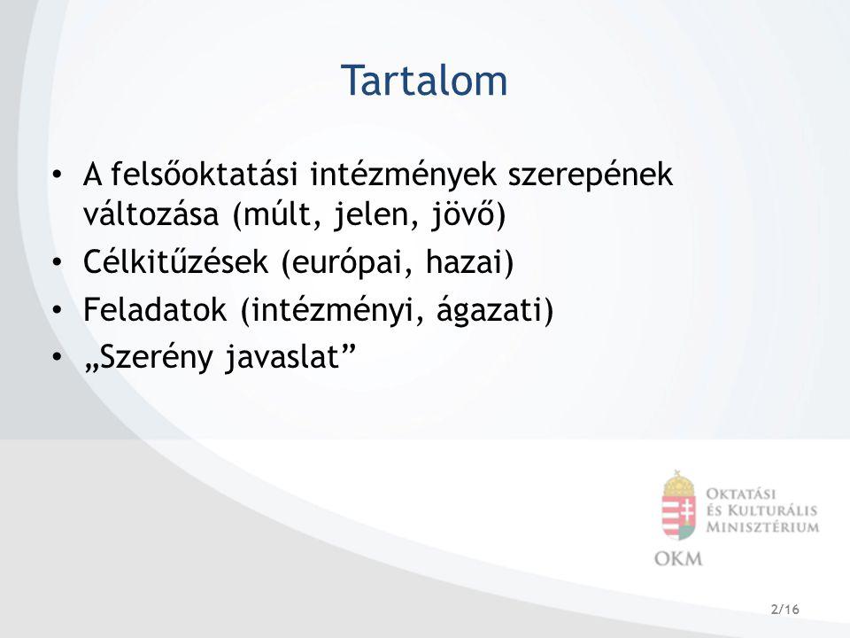 """2/16 Tartalom A felsőoktatási intézmények szerepének változása (múlt, jelen, jövő) Célkitűzések (európai, hazai) Feladatok (intézményi, ágazati) """"Szerény javaslat"""