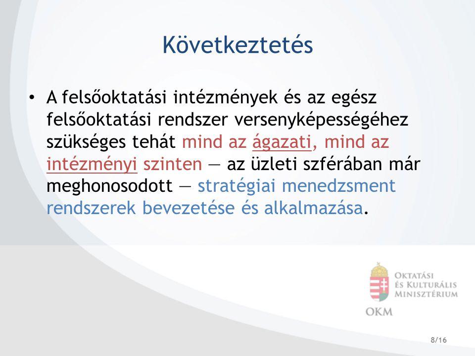 8/16 Következtetés A felsőoktatási intézmények és az egész felsőoktatási rendszer versenyképességéhez szükséges tehát mind az ágazati, mind az intézmé