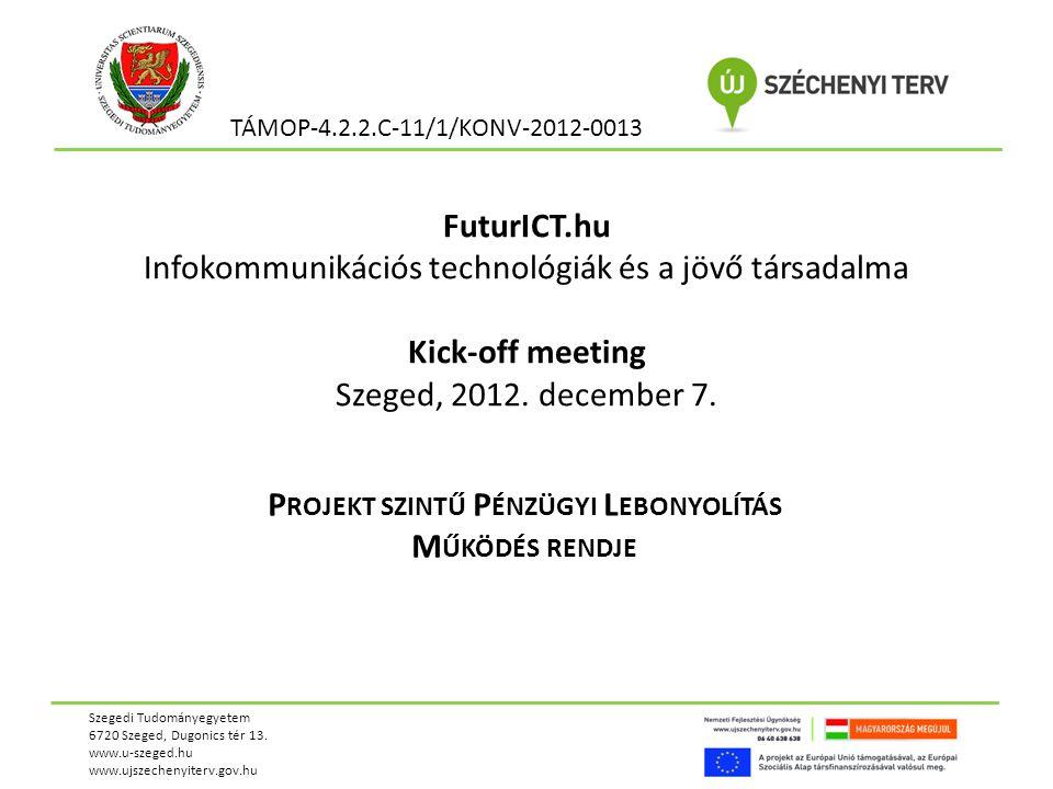 FuturICT.hu Infokommunikációs technológiák és a jövő társadalma Kick-off meeting Szeged, 2012.