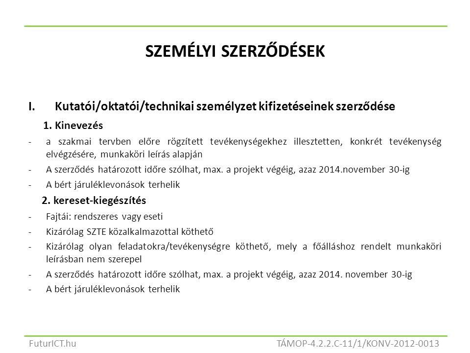 SZEMÉLYI SZERZŐDÉSEK I.Kutatói/oktatói/technikai személyzet kifizetéseinek szerződése 1.