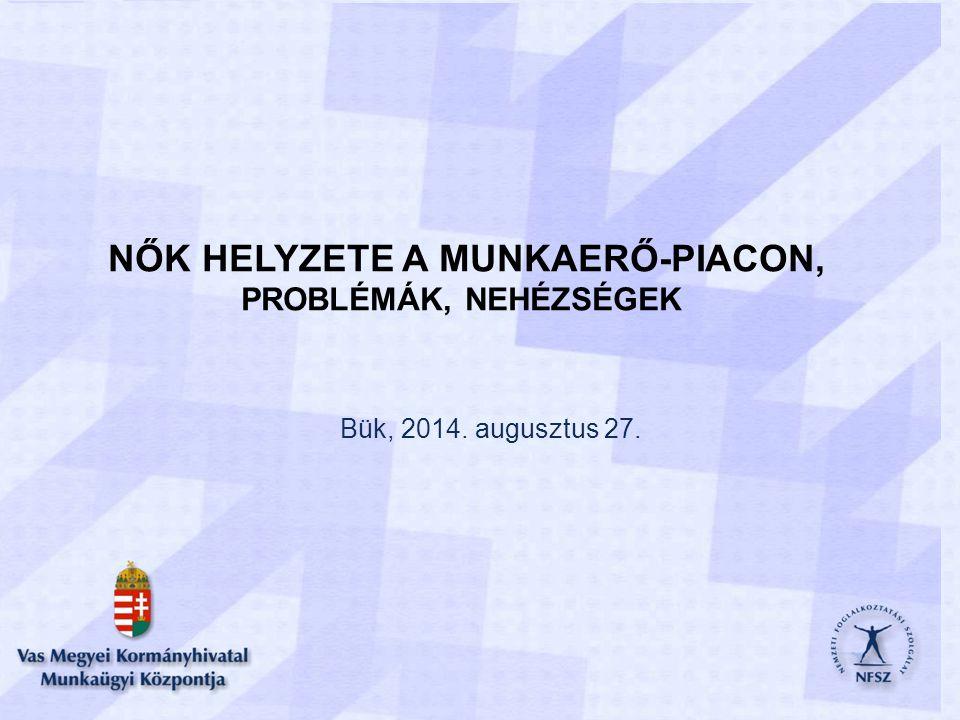 NŐK HELYZETE A MUNKAERŐ-PIACON, PROBLÉMÁK, NEHÉZSÉGEK Bük, 2014. augusztus 27.