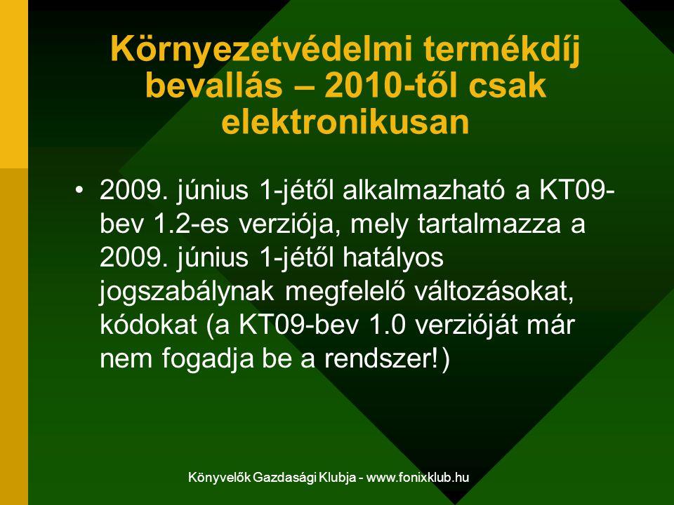 Könyvelők Gazdasági Klubja - www.fonixklub.hu Környezetvédelmi termékdíj bevallás – 2010-től csak elektronikusan 2009. június 1-jétől alkalmazható a K