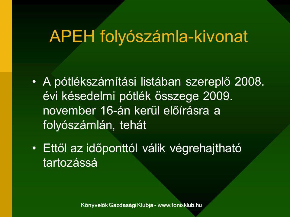 Könyvelők Gazdasági Klubja - www.fonixklub.hu APEH folyószámla-kivonat A pótlékszámítási listában szereplő 2008. évi késedelmi pótlék összege 2009. no