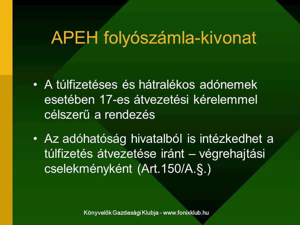 Könyvelők Gazdasági Klubja - www.fonixklub.hu APEH folyószámla-kivonat A túlfizetéses és hátralékos adónemek esetében 17-es átvezetési kérelemmel céls