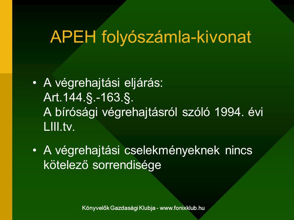 Könyvelők Gazdasági Klubja - www.fonixklub.hu APEH folyószámla-kivonat A végrehajtási eljárás: Art.144.§.-163.§. A bírósági végrehajtásról szóló 1994.