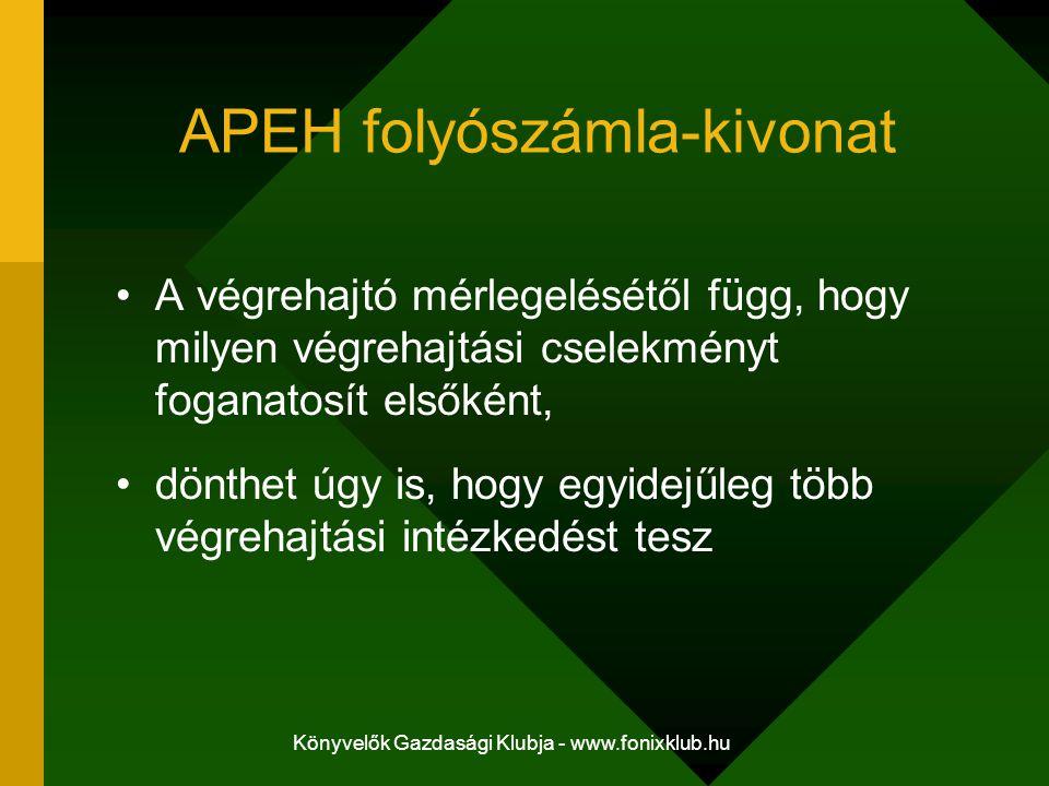 Könyvelők Gazdasági Klubja - www.fonixklub.hu APEH folyószámla-kivonat A végrehajtó mérlegelésétől függ, hogy milyen végrehajtási cselekményt foganato