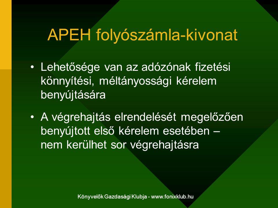 Könyvelők Gazdasági Klubja - www.fonixklub.hu APEH folyószámla-kivonat Lehetősége van az adózónak fizetési könnyítési, méltányossági kérelem benyújtás