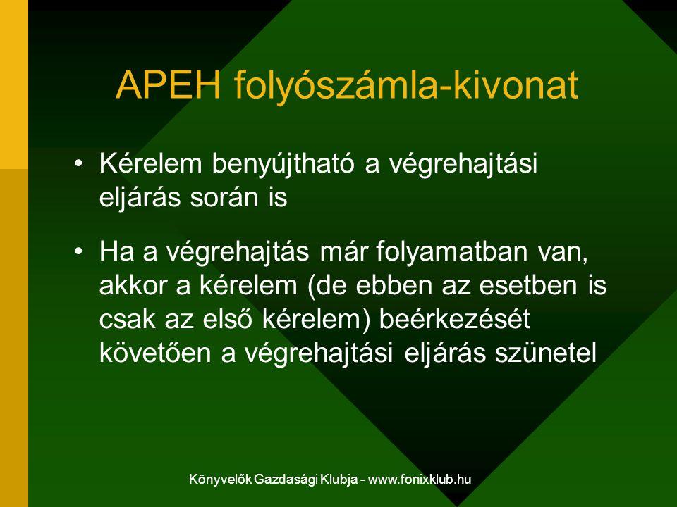 Könyvelők Gazdasági Klubja - www.fonixklub.hu APEH folyószámla-kivonat Kérelem benyújtható a végrehajtási eljárás során is Ha a végrehajtás már folyam