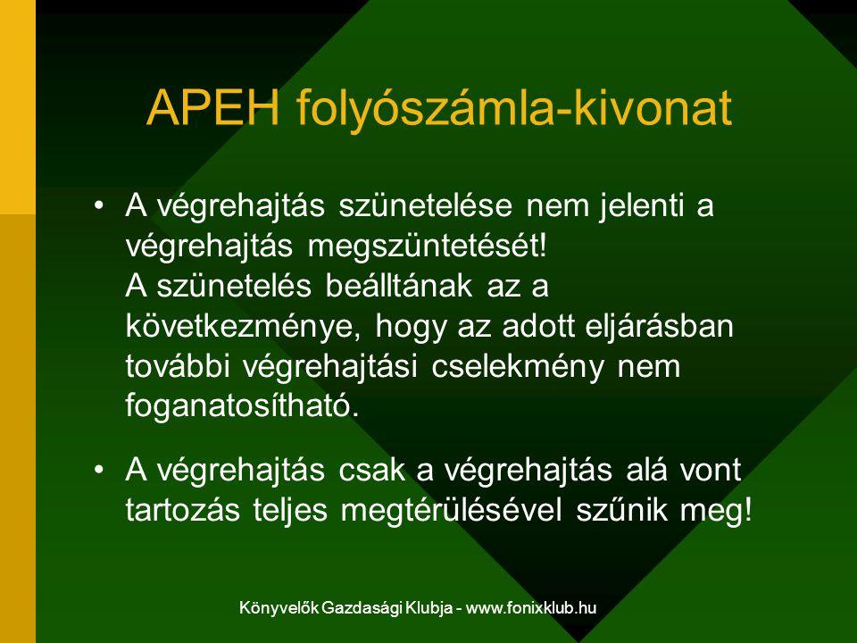 Könyvelők Gazdasági Klubja - www.fonixklub.hu APEH folyószámla-kivonat A végrehajtás szünetelése nem jelenti a végrehajtás megszüntetését! A szünetelé