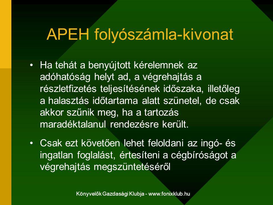 Könyvelők Gazdasági Klubja - www.fonixklub.hu APEH folyószámla-kivonat Ha tehát a benyújtott kérelemnek az adóhatóság helyt ad, a végrehajtás a részletfizetés teljesítésének időszaka, illetőleg a halasztás időtartama alatt szünetel, de csak akkor szűnik meg, ha a tartozás maradéktalanul rendezésre került.