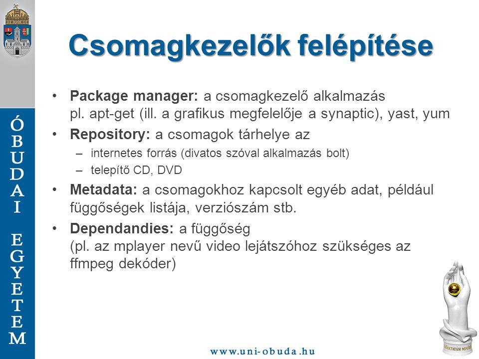 Csomagkezelők felépítése Package manager: a csomagkezelő alkalmazás pl. apt-get (ill. a grafikus megfelelője a synaptic), yast, yum Repository: a csom