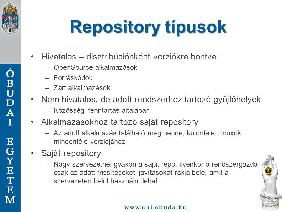 Repository típusok Hivatalos – disztribúciónként verziókra bontva –OpenSource alkalmazások –Forráskódok –Zárt alkalmazások Nem hivatalos, de adott ren