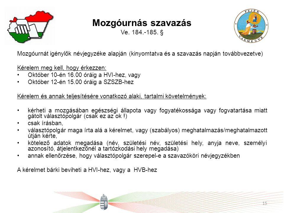 Mozgóurnás szavazás Ve. 184.-185. § Mozgóurnát igénylők névjegyzéke alapján (kinyomtatva és a szavazás napján továbbvezetve) Kérelem meg kell, hogy ér