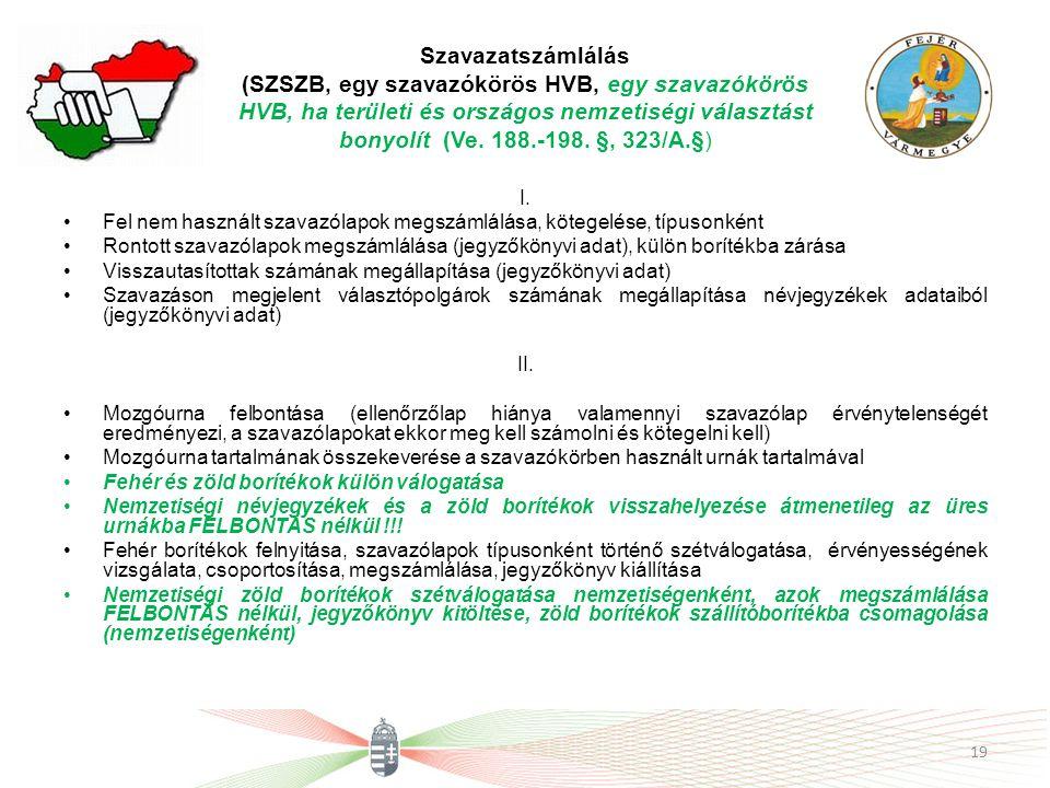 Szavazatszámlálás (SZSZB, egy szavazókörös HVB, egy szavazókörös HVB, ha területi és országos nemzetiségi választást bonyolít (Ve. 188.-198. §, 323/A.