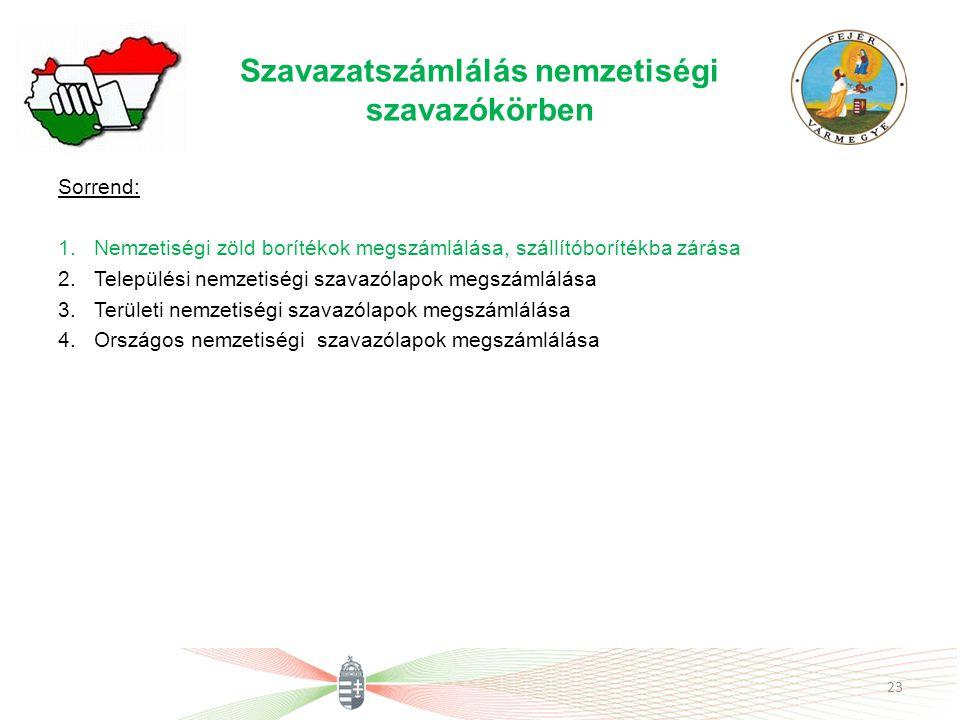 Szavazatszámlálás nemzetiségi szavazókörben Sorrend: 1.Nemzetiségi zöld borítékok megszámlálása, szállítóborítékba zárása 2.Települési nemzetiségi sza