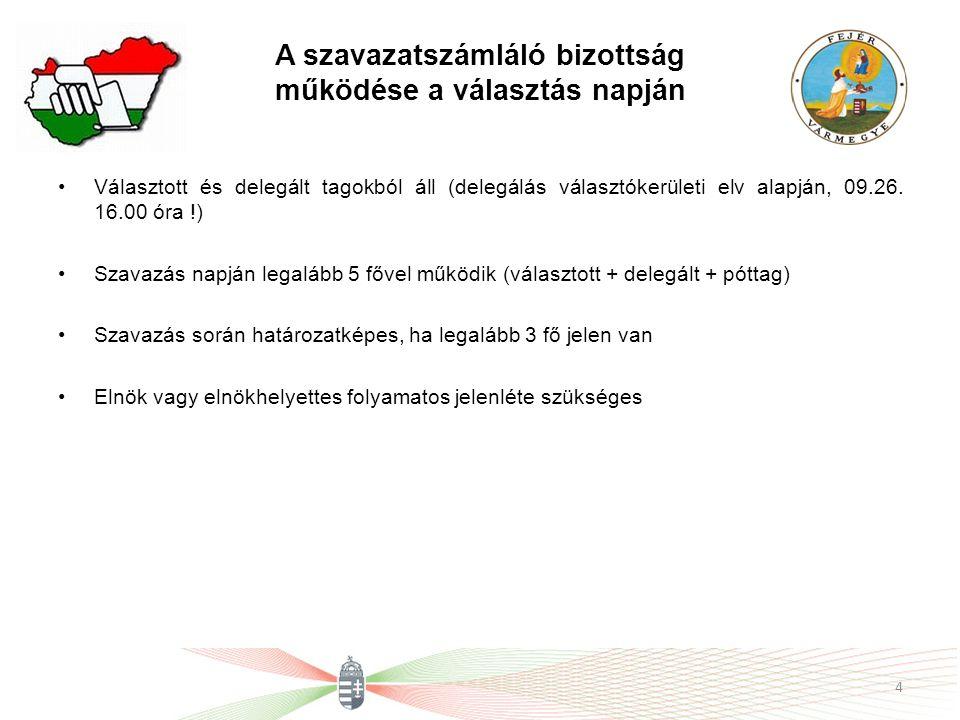 A szavazatszámláló bizottság működése a választás napján Választott és delegált tagokból áll (delegálás választókerületi elv alapján, 09.26. 16.00 óra