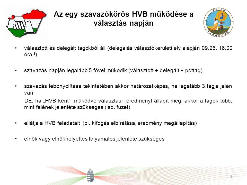 Az egy szavazókörös HVB működése a választás napján választott és delegált tagokból áll (delegálás választókerületi elv alapján 09.26. 16.00 óra !) sz