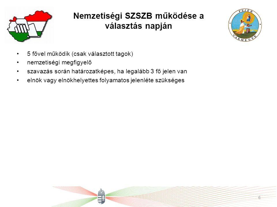 Nemzetiségi SZSZB működése a választás napján 5 fővel működik (csak választott tagok) nemzetiségi megfigyelő szavazás során határozatképes, ha legaláb