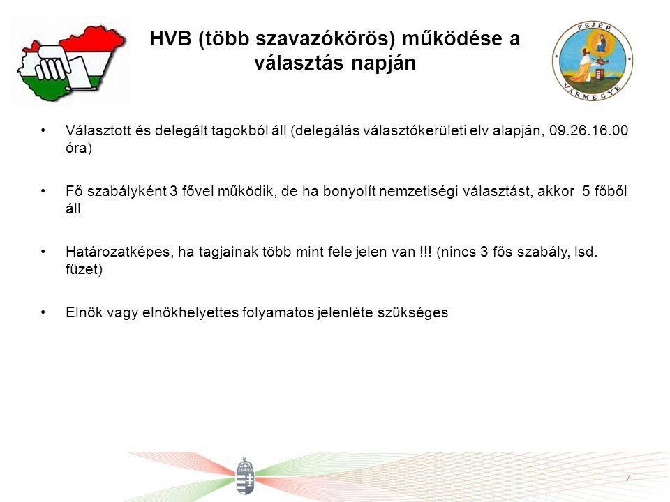 HVB (több szavazókörös) működése a választás napján Választott és delegált tagokból áll (delegálás választókerületi elv alapján, 09.26.16.00 óra) Fő s