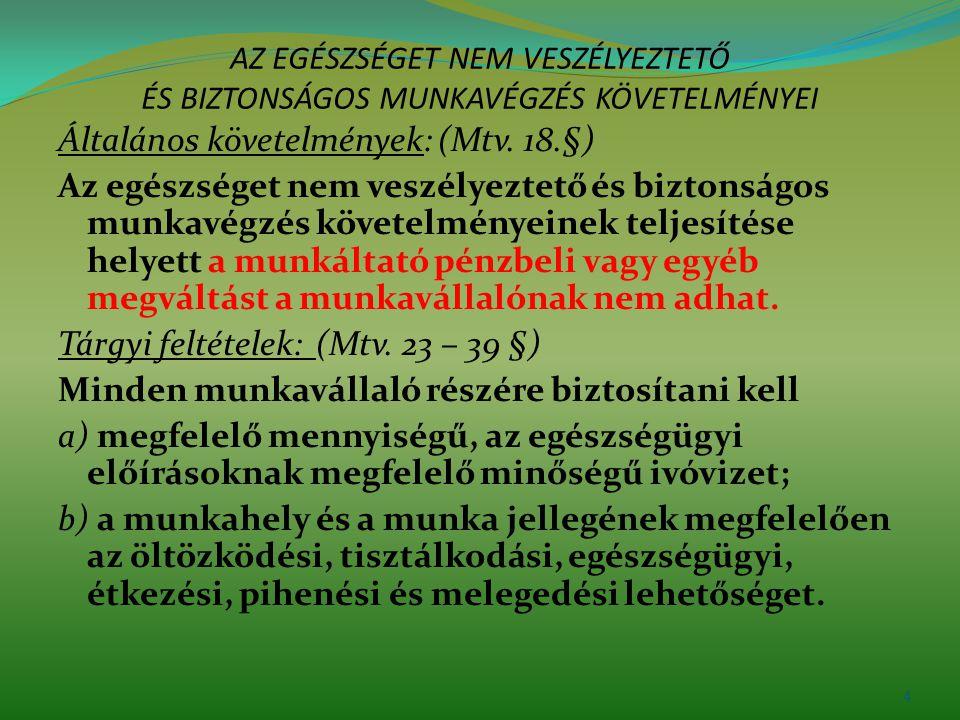 AZ EGÉSZSÉGET NEM VESZÉLYEZTETŐ ÉS BIZTONSÁGOS MUNKAVÉGZÉS KÖVETELMÉNYEI Általános követelmények: (Mtv. 18.§) Az egészséget nem veszélyeztető és bizto
