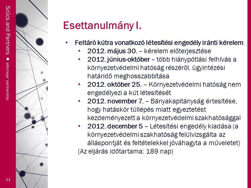 Esettanulmány I. 11 Feltáró kútra vonatkozó létesítési engedély iránti kérelem 2012. május 30. – kérelem előterjesztése 2012. június-október – több hi