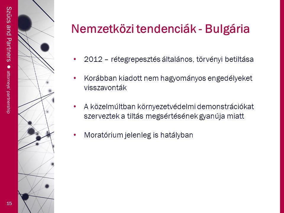 Nemzetközi tendenciák - Bulgária 15 2012 – rétegrepesztés általános, törvényi betiltása Korábban kiadott nem hagyományos engedélyeket visszavonták A közelmúltban környezetvédelmi demonstrációkat szerveztek a tiltás megsértésének gyanúja miatt Moratórium jelenleg is hatályban