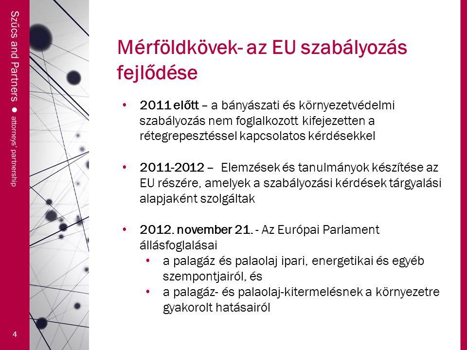 Mérföldkövek- az EU szabályozás fejlődése 4 2011 előtt – a bányászati és környezetvédelmi szabályozás nem foglalkozott kifejezetten a rétegrepesztéssel kapcsolatos kérdésekkel 2011-2012 – Elemzések és tanulmányok készítése az EU részére, amelyek a szabályozási kérdések tárgyalási alapjaként szolgáltak 2012.