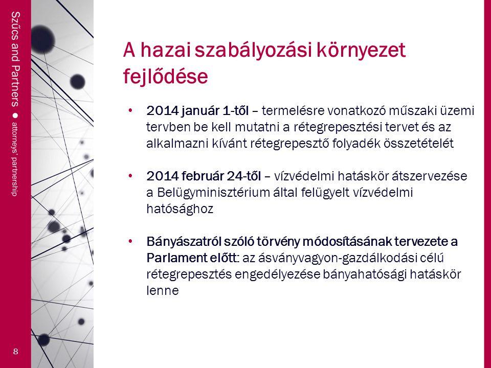 A hazai szabályozási környezet fejlődése 8 2014 január 1-től – termelésre vonatkozó műszaki üzemi tervben be kell mutatni a rétegrepesztési tervet és