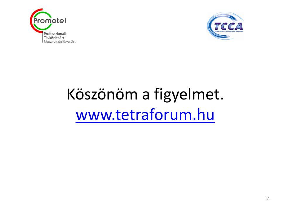 Köszönöm a figyelmet. www.tetraforum.hu www.tetraforum.hu 18