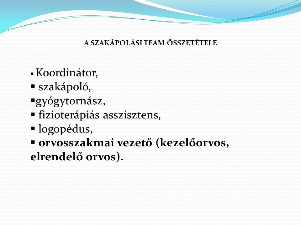 A SZAKÁPOLÁSI TEAM ÖSSZETÉTELE  Koordinátor,  szakápoló,  gyógytornász,  fizioterápiás asszisztens,  logopédus,  orvosszakmai vezető (kezelőorvos, elrendelő orvos).