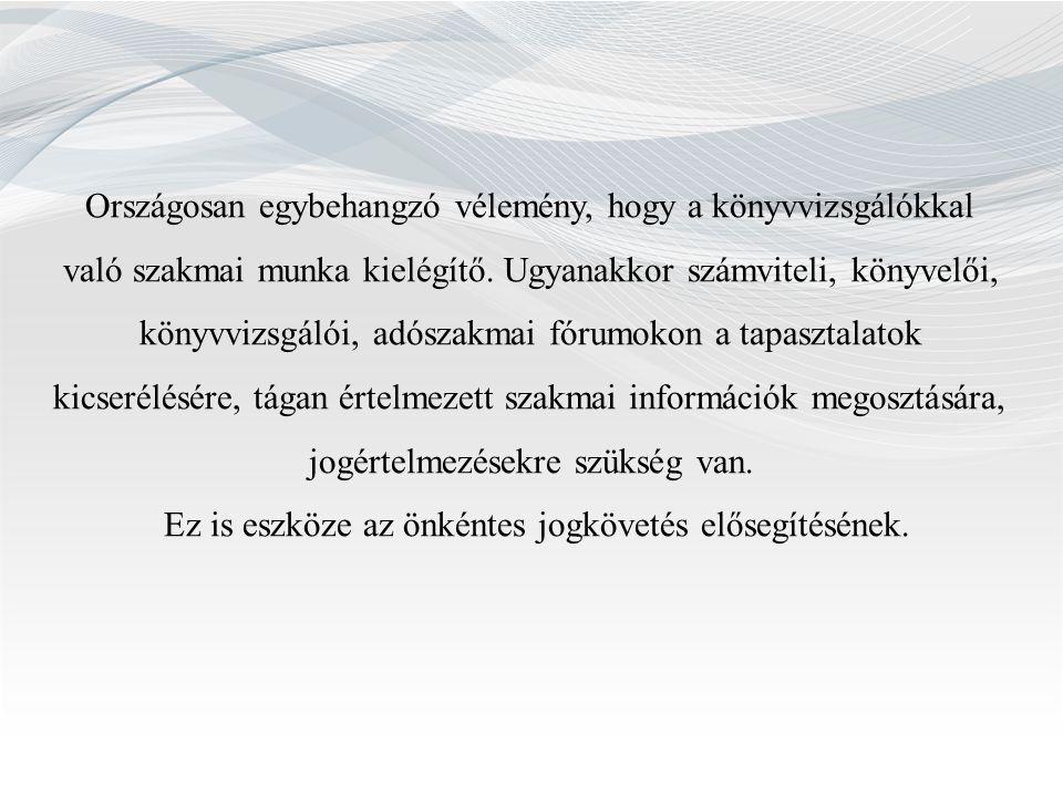 Országosan egybehangzó vélemény, hogy a könyvvizsgálókkal való szakmai munka kielégítő.