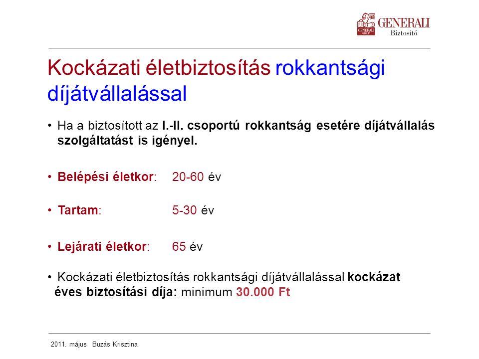 2011. május Buzás Krisztina Kockázati életbiztosítás rokkantsági díjátvállalással Ha a biztosított az I.-II. csoportú rokkantság esetére díjátvállalás