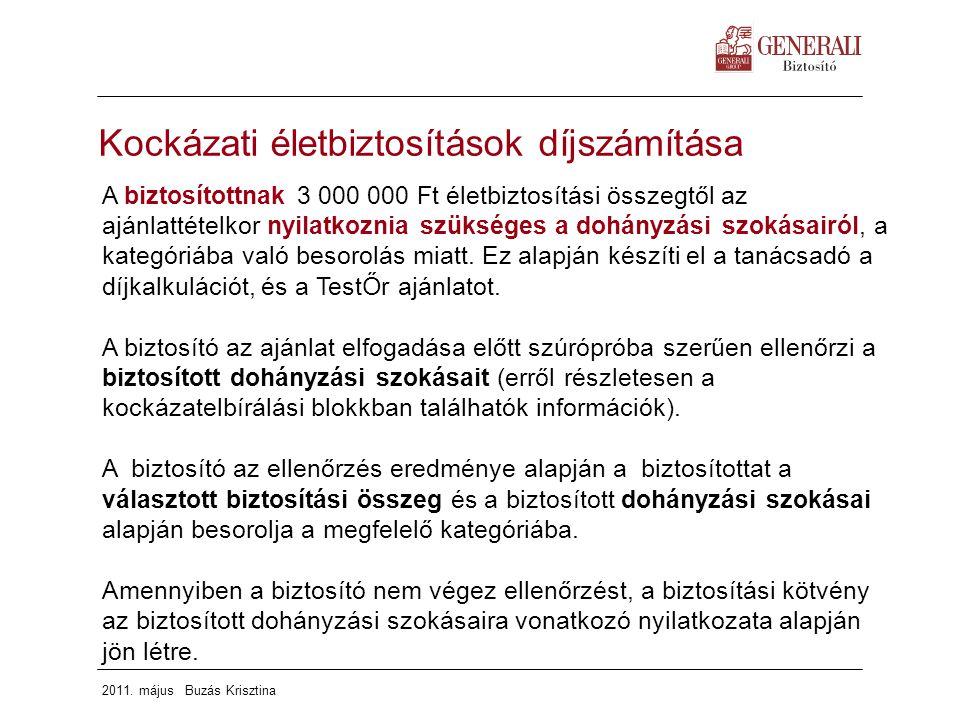 2011. május Buzás Krisztina A biztosítottnak 3 000 000 Ft életbiztosítási összegtől az ajánlattételkor nyilatkoznia szükséges a dohányzási szokásairól