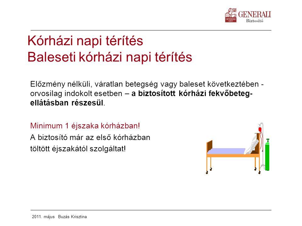 2011. május Buzás Krisztina Kórházi napi térítés Baleseti kórházi napi térítés Előzmény nélküli, váratlan betegség vagy baleset következtében - orvosi