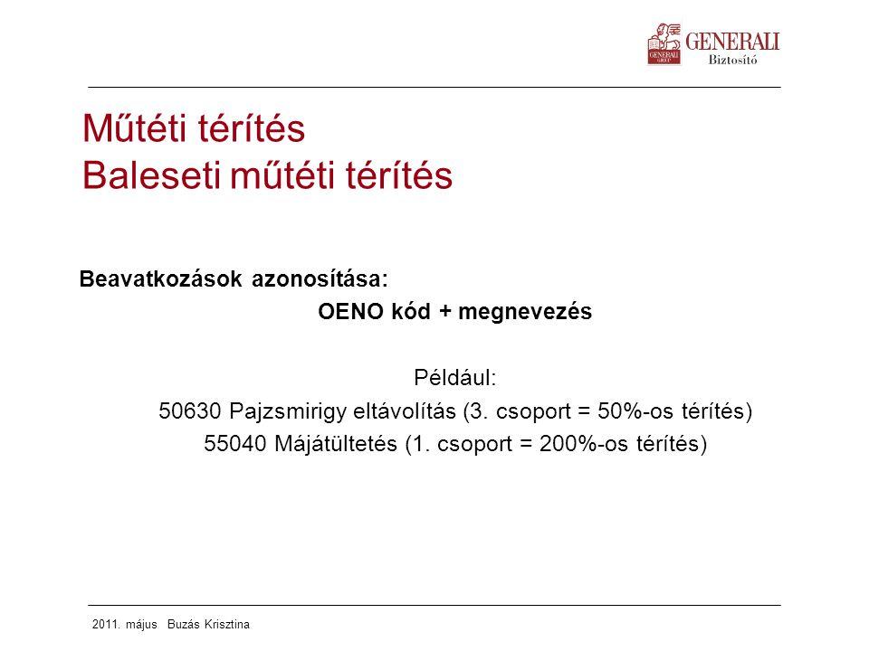2011. május Buzás Krisztina Beavatkozások azonosítása: OENO kód + megnevezés Például: 50630 Pajzsmirigy eltávolítás (3. csoport = 50%-os térítés) 5504