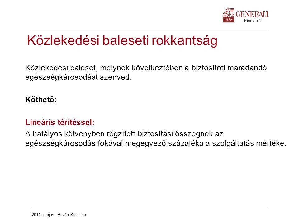 2011. május Buzás Krisztina Közlekedési baleset, melynek következtében a biztosított maradandó egészségkárosodást szenved. Köthető: Lineáris térítésse