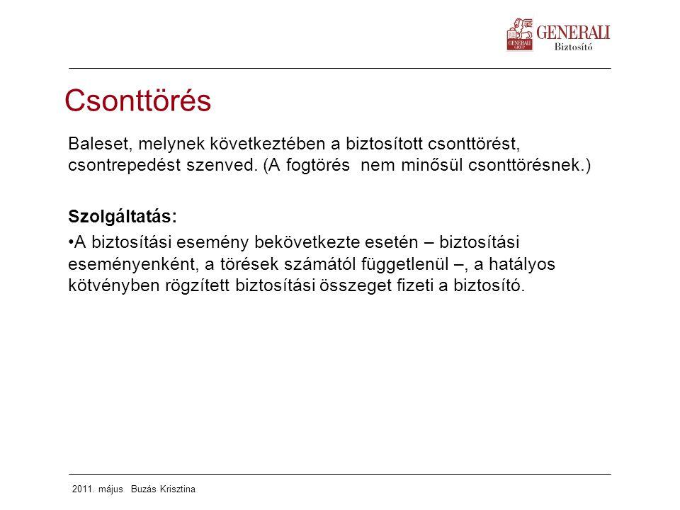 2011. május Buzás Krisztina Csonttörés Baleset, melynek következtében a biztosított csonttörést, csontrepedést szenved. (A fogtörés nem minősül csontt