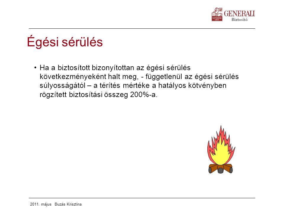 2011. május Buzás Krisztina Égési sérülés Ha a biztosított bizonyítottan az égési sérülés következményeként halt meg, - függetlenül az égési sérülés s
