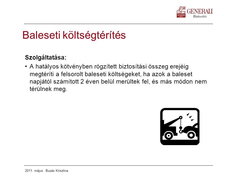 2011. május Buzás Krisztina Baleseti költségtérítés Szolgáltatása: A hatályos kötvényben rögzített biztosítási összeg erejéig megtéríti a felsorolt ba
