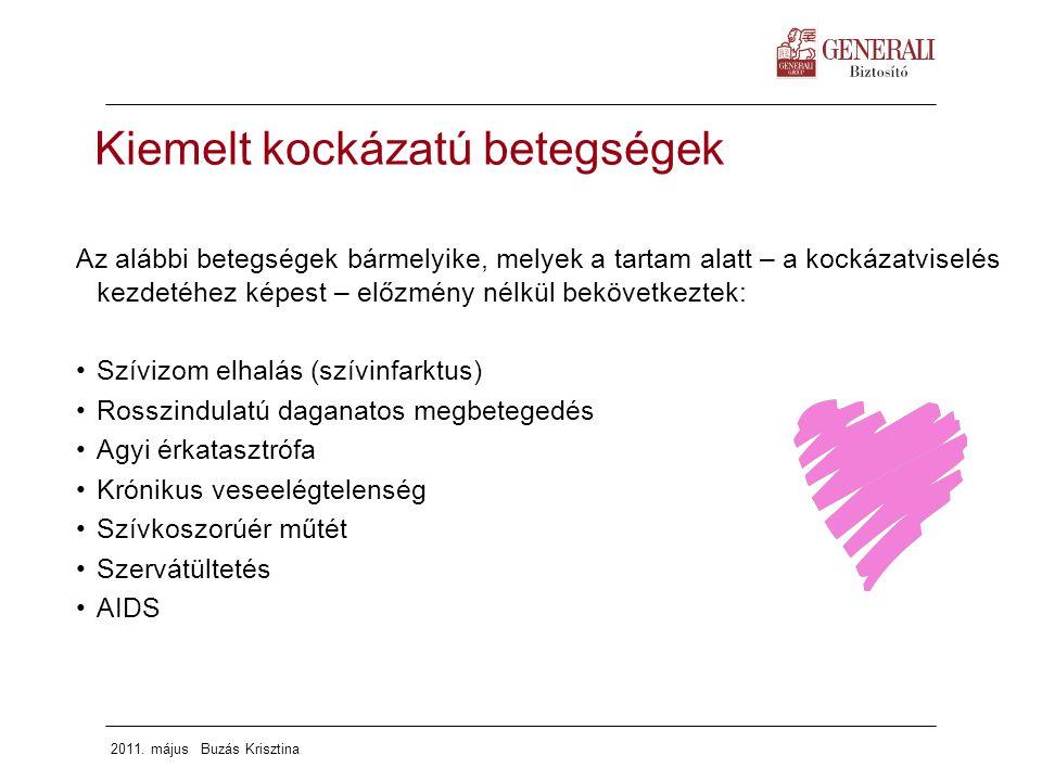 2011. május Buzás Krisztina Kiemelt kockázatú betegségek Az alábbi betegségek bármelyike, melyek a tartam alatt – a kockázatviselés kezdetéhez képest